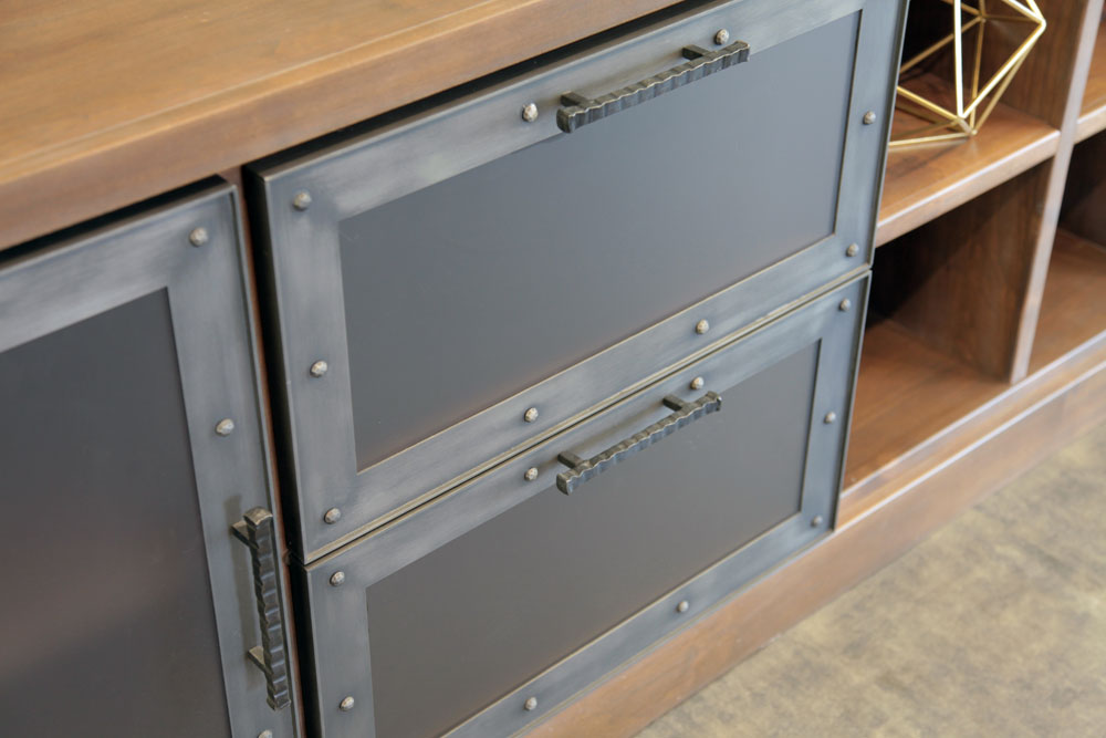 Steel frame in an antique grey finish with a bronze tinted satin glass insert